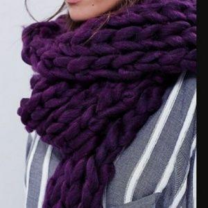 Free People Chunky Knit Scarf Wrap Plum